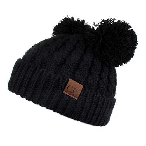 Hatsandscarf CC Exclusives Cable Knit Double Pom Winter Beanie(HAT-60) ()