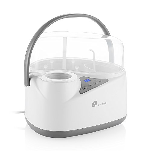 Bottle Warmer, Baby Bottle Sterilizer Electric Steam Sterilizer, 4 in 1 Function with Temperature LCD Monitor and Accurate Temperature Control, BPA Free Bottle Storage