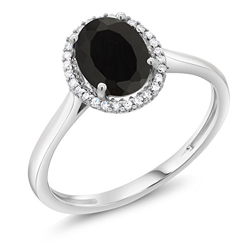 (Gem Stone King 10K White Gold Black Onyx and Diamond Halo Engagement Ring 1.25 Cttw Oval (Size 9))
