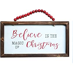 "NIKKY HOME Wood Framed Christmas Hanging Wall Sign Plaque for Holiday Decor - Believe in The Magic of Christmas, 16"" x 8"""