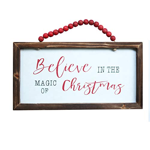 NIKKY HOME Wood Framed Christmas Hanging Wall Sign Plaque for Holiday Decor - Believe in The Magic of Christmas, 16