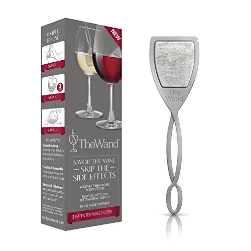 The Wand by PureWine   The Only Wine Filter that Removes Histamines & Sulfite Preservatives   No More Wine Headaches (3-pack) by PureWine