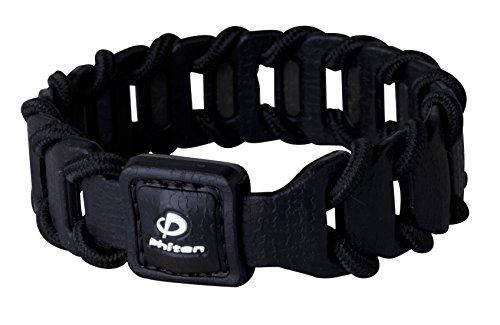 Phiten Fuse Titanium Bracelet, Black, 7.5-Inch