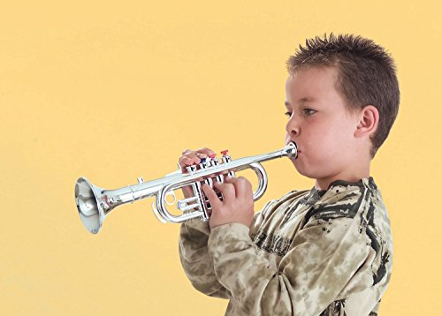 41xpIXf0qYL - Click N' Play Metallic Silver Kids Trumpet Horn Wind Instrument with 4 Colored Keys