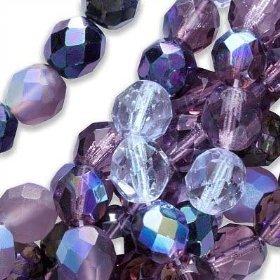 Czech Fire Polish Glass Beads 4mm Round