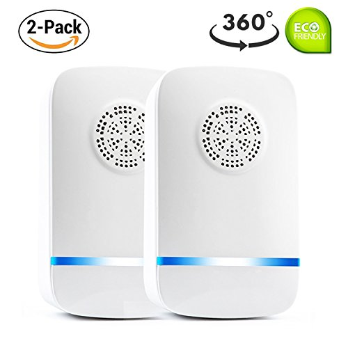 Moonli Ultrasonic Pest Repeller - 2018 LATEST UPGRADE CHIP - Electronic Pest repellent, Mouse Repeller Plug in Pest Control (2 Pack) -