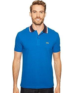 Men's Short Sleeve Semi Fancy Bold Stripe Collar Regular Fit Polo Shirt