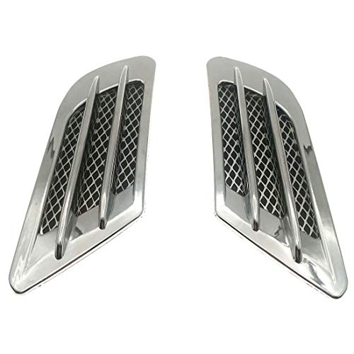 (ZYHW 2Pcs Chrome Tone Universal Self-adhesive Air Flow Vent Fender Side Decor Sticker for Car)