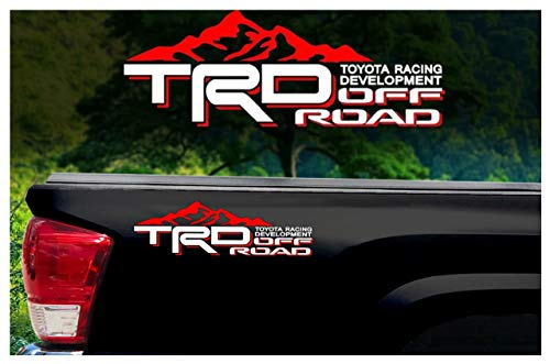 (Noa Store Toyota TRD Truck Mountain Off-Road 4x4 Racing Tacoma Decal Vinyl Sticker PAIR of 2 (White/RED))