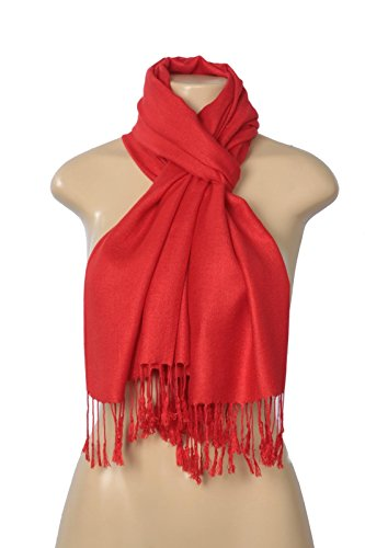 (C-More Elegant Pashmina Silk Blend Soft Wrap Scarf Shawl For Women -30+ Solid Colors (Red))