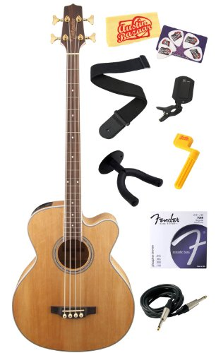 Takamine GB72CE G Series Jumbo Cutaway Acoustic-Electric Bass Guitar with Rosewood Fretboard Bundle with Strings, Strap, Instrument Cable, Wall Hanger, Tuner, Stringwinder, Picks, and Polishing Cloth - Natural by Takamine