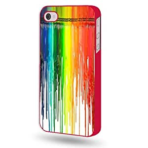Shawnex Dripping Colors Crayon Art Red Plastic iPhone 4 & 4S Case - Fits iPhone 4 & 4S