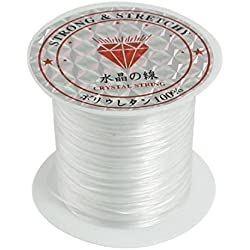 Crystal Thread,BANGCHIC 2Rolls Bead Craft Crystal, Stretchy String/Thread,White Elastic Round Line Bobbin Beading Jewelry Making Bracelet Crystal String Cord Dia 0.5-0.6mm