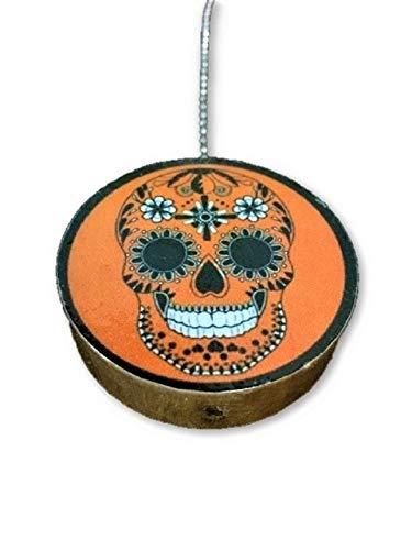 - Day of the Dead Orange Print Round Wood Fan/Light Pull