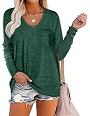 WELINCO Women Long Sleeve V Neck T Shirts for Women Casual Loose Fit T Shirts with Pocket