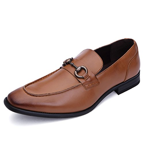 Pointed Toe Oxfords - BTDREAM Men's Classic Office Metal Buckle Pointed-Toe Oxfords Brogue Dress Leather Shoes Brown Size 10.5