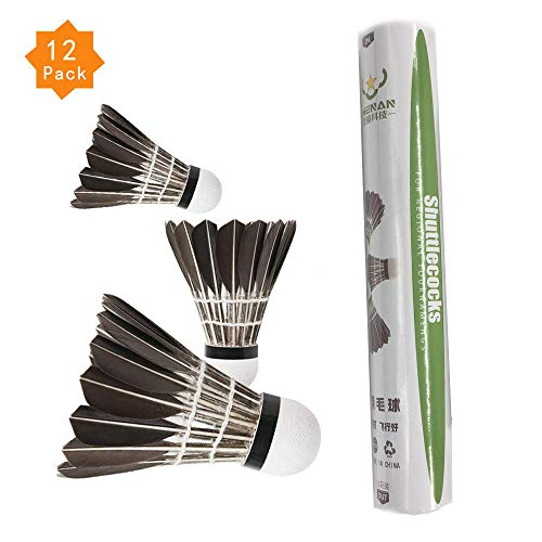 ZHENAN 12-Pack Advanced Goose Feather Badminton Shuttlecocks with Great Stability and Durability,Indoor Outdoor Sports Hight Speed Training Badminton Birdies Balls