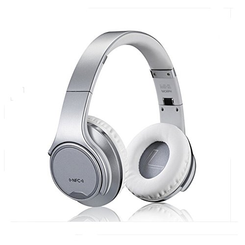 Silver Folding Headphone (Over-Ear Headphones-PluStore MH1 Foldable Wireless Bluetooth 3.0 On-Ear 2 in1 Headphones with Twist-out Speaker Stereo Headphone Headset (Silver))