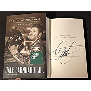 Dale Earnhardt Jr signed Book Racing to the Finish: My Story Publisher Edition