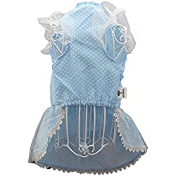 Pet Clothes,FUNIC Puppy Pet Tutu Dress Lace Skirt Princess Costume Dog Cat (Medium, Blue)