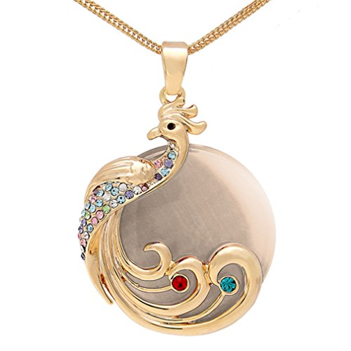 Drop Online Costume Luna (LOMOL Womens Fashion Opals Crystal Pendant Jewelry Necklace With Gold Long Chain Clothing)