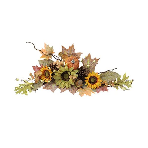 Admired By Nature GFW6003-NATURAL Artificial Sunflowers/Pumpkins/Pinecone/Maple Leaves/Berries Fall Festive Harvest Display Swag, 30″, Green/Autumn