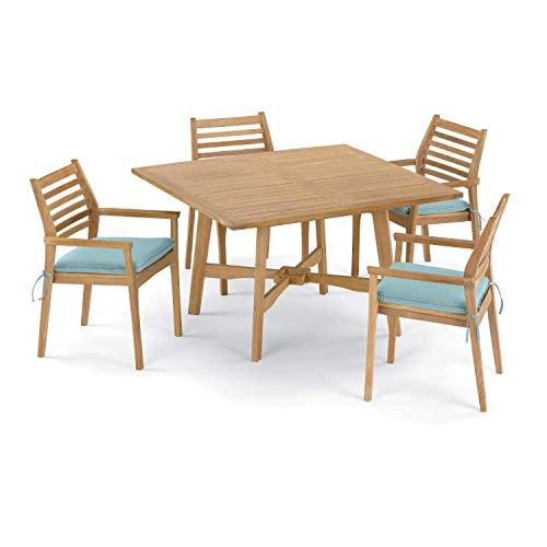 Oxford Garden Wexford 5 Piece Natural Shorea Patio Dining Set W/ 48 Inch Square Table & Sunbrella Canvas Mineral Blue Cushions