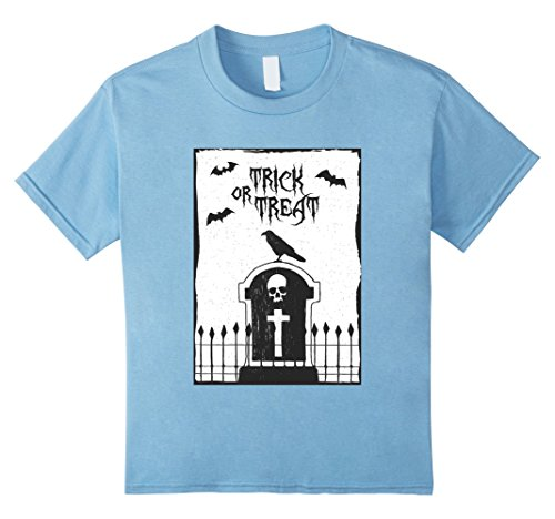 Kids Trick or Treat Raven Gravestone Bats T-Shirt 6 Baby Blue