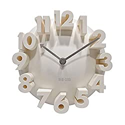 GCA 3d Big Digital Modern Contemporary Home Office Decor Round Quartz Wall Clock White