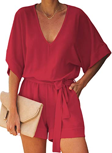 Dokotoo Womens Fashion Plus Size Ladies Casual Solid V Neck Short Sleeve Pocketed Waist Belt Tie Rompers Short Jumpsuits Playsuits Playsuit Red X-Large (Short Rompers For Women Plus Size)