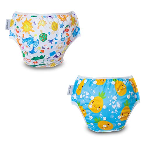 MAMA DUCK Reusable Baby Swim Diapers. Swimsuit for Infant to Toddlers, Boys & Girls. Breathable Cloth. Adjustable Easy-Snap Locks | Set of 2 (Yellow)