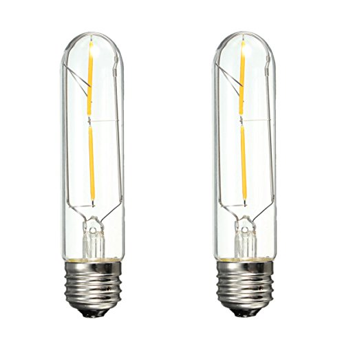 2x 4W T10 Tubular LED E26 Base Edison Style COB Led Filament Bulb 40W Equivalent