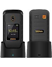 4G Senior Flip Phone met oplaaddock, UNIWA V909T Dual Screen Flip Phone Unlocked SOS Grote Knop Groot Volume Gehoorapparaat Compatibel Mobiele Telefoon Eenvoudig te gebruiken voor Ouderen (Zwart)