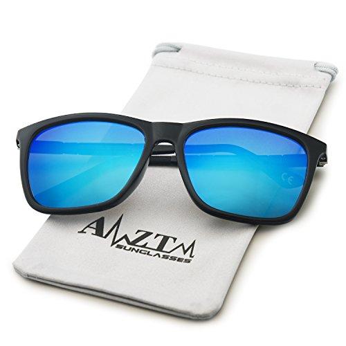 UV Ultraligero Wayfarer de Mujer Protección Gafas Hombre 400 de Caminante Azul Moda Polarizadas Gafas Sol para Reflejantes AMZTM Espejos xfZqTx