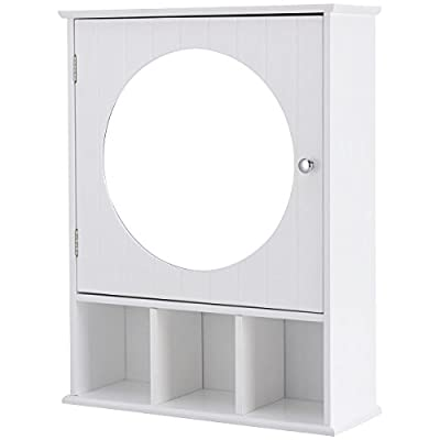 """26"""" White Wall Mounted Bathroom Mirrored Cabinet w/3 Open Shelves with Ebook - Wood construction provide lasting construction, 3 open shelves and 1 capacious storage room, Inner 3-level heights adjustable shelf, meet your needs, Wall-mounted design, maximizing the bathroom space A door with round mirror, make you easy to make-up, Pure white color with a simple yet elegant appearance, The pressure switch device is convenient for you to open the cabinet door Durable and well made, healthy and environmental friendly, Easy to assemble, wipe-clean surface, Make room organized and neat - shelves-cabinets, bathroom-fixtures-hardware, bathroom - 41xpNC4e98L. SS400  -"""