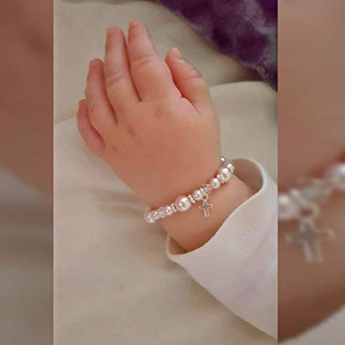 Bautizo de plata esterlina Pulsera para bebé de Keepsake Girl con cristales de Swarovski simulados de perlas rosas blancas (B123_S)