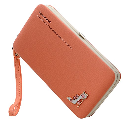 Smartphone Wristlet,Ladies Clutch Purse Wallet Mobile Phone Wristlet Wallet Large Capacity with Strap Wrist for iPhone X/8/8 Plus/7/7 Plus/6S/6S Plus/6/Samsung Galaxy S8/S7/S6 by Emoonland(Orange)
