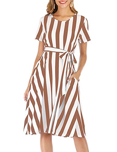 Short Sleeve Flared Casual Summer A-Line Midi Dress Petie Dresses Easter Khaki S