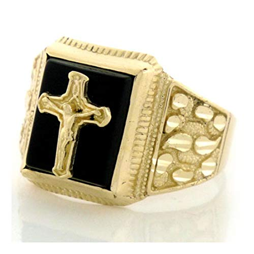 10k Solid Gold Nugget Onyx Mens Ring with Crucifix (Style# 1903) - Size 7
