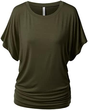 URBANCLEO Womens Short Sleeve Dolman Drape Top Shirts (PLUS Size Available)