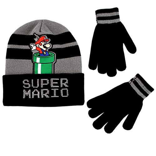 Nintendo Boys' Little Super Mario Beanie Hat and Gloves Cold Weather Set, Grey/Black, Age 4-7 -