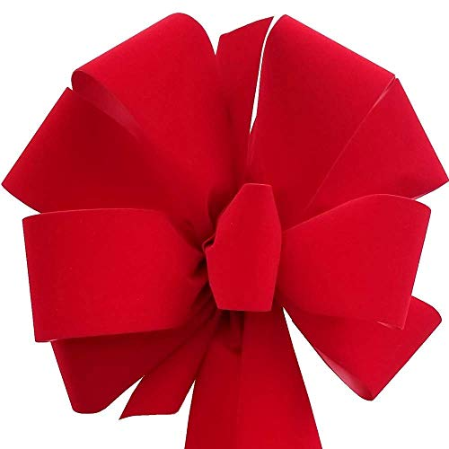 12-Pack Christmas Bows 10″ x 26″ Handmade with 2.5″ Red Velvet Ribbon Indoor Outdoor Wreath Home Decor Tree Decoration Packed Fluffy Not Flat