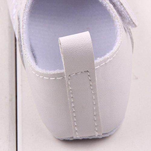 Xiangze La Moda De Primavera De La Nina De La PU De Cuero Suave Suela De Calzado Cuna Blanco