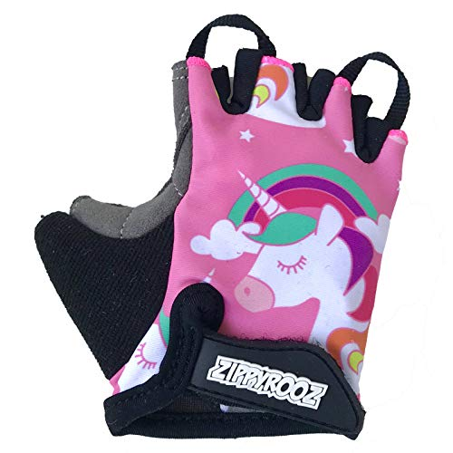 ZippyRooz Toddler & Little Kids Bike Gloves for Balance and Pedal Bicycles (Formerly WeeRiderz) for Ages 1-8 Years Old. 6 Designs for Boys & Girls (Unicorn, Little Kids Large (5-6)) (Best Bike Riding Gloves)