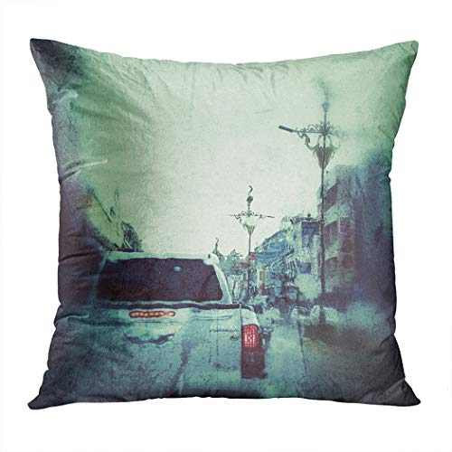 Parking Halloween Horror Nights (Vooft Throw Pillow Decor Square 20 x 20 Inch Halloween Scary Night Car Parking Real Last Sunrise Screen Decorative Cushion Cover Printed Pillowcase Cover Home Sofa Living)