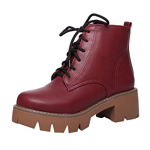 Latasa Mujeres Fashion Platfom Chunky Tacones Tobillo High Botas Oxford Claret-red