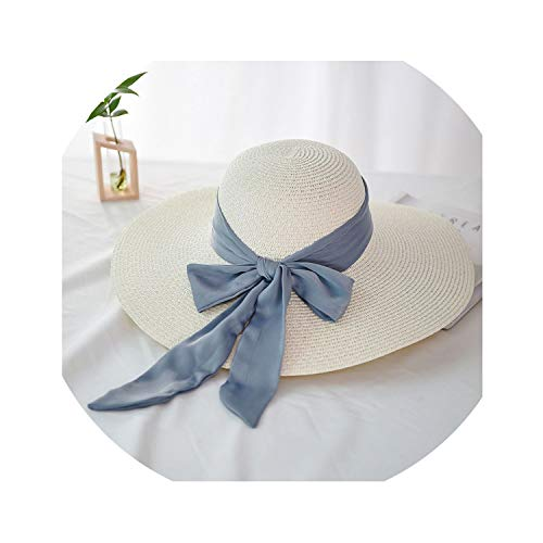 Ladies Summer Hat Bow Silk Straw Hats for Women Beach Sun Hats Solid Color Sunhat,Foldable,White,One Size