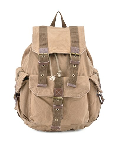 Gootium 21101KA-S Specially High Density Thick Canvas Backpack Rucksack, Khaki Small