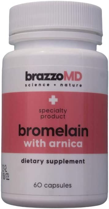 brazzoMD Bromelain with Arnica Tablets, 60 tablets, Plastic Surgeon developed to reduce bruising, swelling, inflammation, and pain, and to assist in natural healing: Health & Personal Care