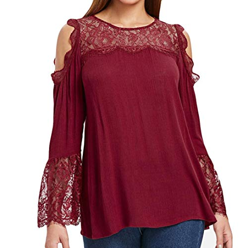 Toimoth Fashion Womens Long Sleeve T-Shirt Lace Blouse Cotton Blouse Tank Tops(Red,XL)